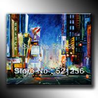 Free Shipping Modern Palette Knife Textured Oil Painting Paris Street Landscape BLA03