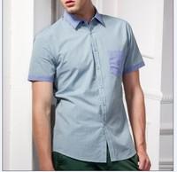 2013 Free shipping  brand fashion England disign shirt Short sleeve casual wear cotton shirts for man slim fit stylish S-3XL B10