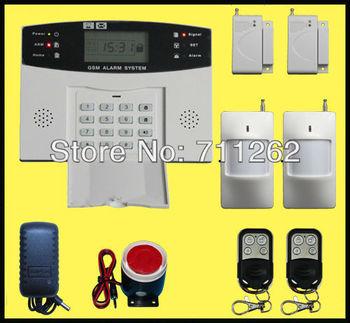 Free shipping+GSM SMS Home Burglar Security Alarm System Detector Sensor Kit Remote Control