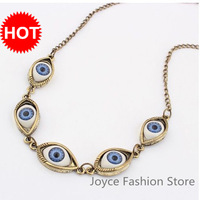 Min Order $10,2013 New  Charm Fashion Designer Jewelry,Punk Retro Elegant Evil Eye Necklace, Multi Blue Eye Necklace X25288