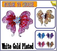 Beautiful Big Butterfly Brooch with AB Rhinestone White Gold Plated 4PCS Mix Color Xmas Gift Free Shipping