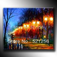 Free Shipping Modern Abstract Huge Canvas Art Oil Painting Pedestrian Under Streetlamp BLA13