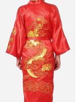 NEW Easeful Chinese Embroidery Dragon Man Kimono Dressing Gown Bath Size M-XXL