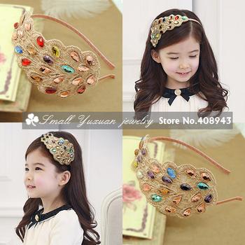 Min.order is $15 (mix order)Retro Fashion mix color Rhinestone Peacock Hairbands Headband Lady/Girl hair wear free shipping 2589
