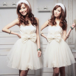 Design dress short skirt lace bow bridesmaid dress sister dress evening formal dress(China (Mainland))