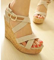 Summer sandals vintage high-heeled platform shoes platform wedges platform shoes female shoes