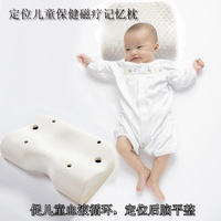 Free shiping white good sleep velvet fabric cover memory foam waving shape neck rest jacquard massage baby pillow ( WN11)