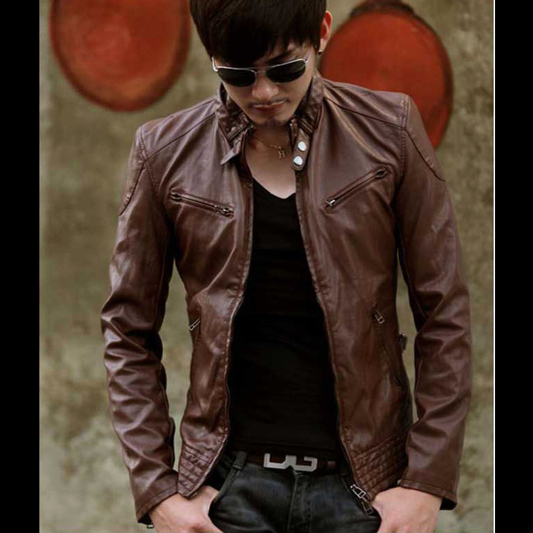 Slim motorcycle leather clothing male casual stand collar leather jacket leather clothing Men coat men's clothing clothes(China (Mainland))