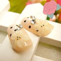 FREE SHIPPING ,new arrival, eleagnt wedding /party  bride flower  FALSE NAIL 24pcs./set  nail tips