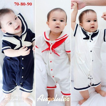 Wholesale free shipping 9pcs/lot Summer cotton baby Romper Baby navy Rompers baby Onesies boys Bodysuit blue/red/white