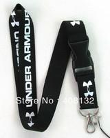 Free shipping Hot 20 pcs black UA Sport Logo Lanyard for MP3/4 cell phone key WHOLESALE