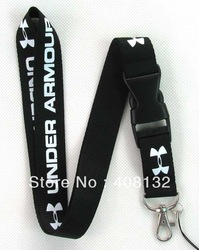 Free shipping Hot 20 pcs black UA Sport Logo Lanyard for MP3/4 cell phone key WHOLESALE(China (Mainland))