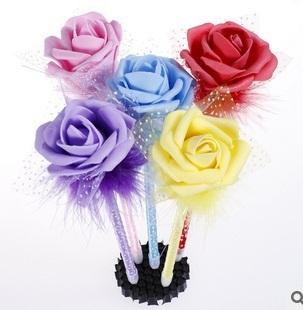 Cute Rose Pen Ballpoint pen Students stationery Office supplies Blue cartridge Ballpoint pen