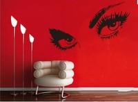 Free shipping:Modern Vinyl Sexy Giant Hepburn 's Eyes  Large Bedroom wall sticker decal stencil art 80x150cm
