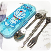 unique wallets for women DORAEMON cartoon portable stainless steel fork spoon chopsticks piece set dinnerware set Free shipping