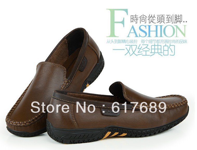 Men's soft outsole first layer of cowhide genuine leather business casual fashion male shoes Driving business men's shoes(China (Mainland))