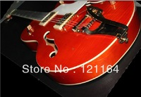 Exquisite Musical Instruments Hollow body red cherry classic stripes burst jazz electric guitar
