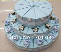 Blue three Layer 100pcs Wedding Favor Cake Box gift box cake box