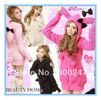 2013 New Women's cute Hooded coat Sexy Rabbit Ear Fluffy Balls Sweatshirts hoodies jacket free shipping B18
