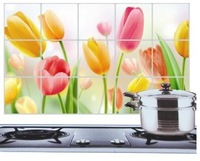 Flower Aluminum Foil Oil Proof 3D Wall Sticker Kitchen 45*75CM