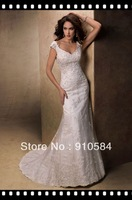 2013 beaded lace motifs features V-neck delicate cap-sleeves covered button over zipper back closure Wedding Dresses Bridal Gown