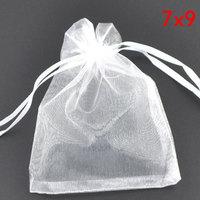 wholesale 100 White Drawable Organza Wedding Gift Bags&Pouches 9x7cm(W00445 X 1)
