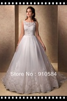 2013 modern visiontulle illusion lace beaded lace scallops covered button over zipper back closure Wedding Dresses Bridal Gown