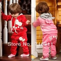 3pcs- Baby Girls' Velvet Kitty Sports Set, Kids/Children spring autumn Super Lovely Clothes Set, 840