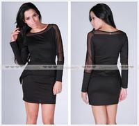 2013 Newest Women Sexy Twinset Long Sleeve Elegant Club Wear Party Evening Peplum Bodycon Dress M L