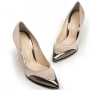Shallow mouth color block decoration small pointed toe high heels satin fabric color block decoration single shoes