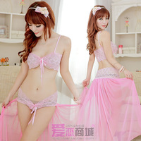 Spaghetti strap sexy sleepwear nightgown sexy transparent women's set of underwear underpants 2058 and temptation