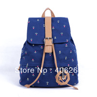 free shipping 2013 preppy style  canvas bag  student school bag ladies' backpack