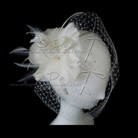Free Shipping 2013 New Bridal Feather Fascinator Hair Accessories Wedding Veil Bridal Veil Birdcage Veils