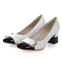 Color block shoes genuine leather shoes female japanned leather medium hells shoes sweet comfortable with the women's horseshoe