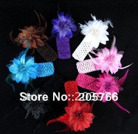 8pcs/lot Flower With Feather,Baby Girls Feather Headband,Infant Knitting Hair Weave,Baby Hair Accessiries