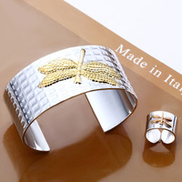 Free Shipping Silver Plated Jewelry Sets Top Quality Guaranteed Dragonfly Bangle Ring Set S309