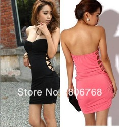 Free Shipping Women&#39;s Sexy European style side hollow Slim package hip Tee Dress(China (Mainland))