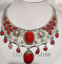 Free shipping@@pretty tibet silver inlay coral jewlery necklace