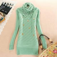 free shipping Autumn and winter 2013 women's sweater slim medium-long basic knitted shirt sweater outerwear