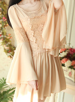 free shipping Fairy princess wind slim waist flare sleeve lace cutout crochet chiffon patchwork long-sleeve dress