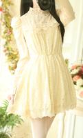 Vintage audrey hepburn sweet elegant stand collar lace chiffon patchwork rhinestone puff sleeve princess long-sleeve dress