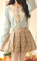 Sweet preppy style vintage peter pan collar lace decoration small fresh gentlewomen light blue denim cotton long-sleeve shirt