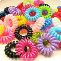 Free Shipping fashion telephone strap rope band elastic hairwear wholesale(100pcs/lot)
