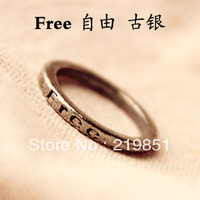 Free shipping Min.order is $10 (mix order) Retro Minimalism Retro Lettering Wishing Ring,Letter Rings For Women 7