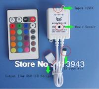 NEW ! hot sale 24key IR LED RGB MUSIC CONTROLLER DC12v 6A connect RGB LED STRIP LIGHT