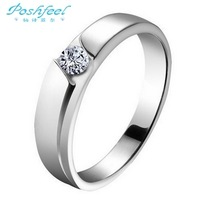 Poshfeel brand  Hot sale Genuine 925 sterling silver & zircon crystal & platinum plated romantic wedding rings men