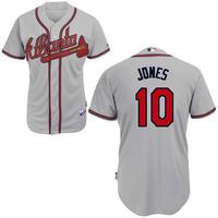 HOT 10# chipper jones grey Jerseys atlanta braves throwback Baseball Jersey  Embroidery logos Cool Base Mix Order Size 48-56