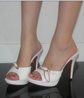Free shipping 2012 high-heeled shoes sexy l chain high-heeled shoes slippers women's high-heeled slippers thin heels shoes