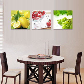 Modern decorative painting /Frameless painting wall clock home accessories/ fruit painting
