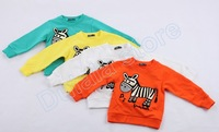 Wholesale 4pcs/lot Baby Zebra t shirt Long Sleeve Children Babies Kids Boy t-shirts Clothes Cotton Clothing New Hot